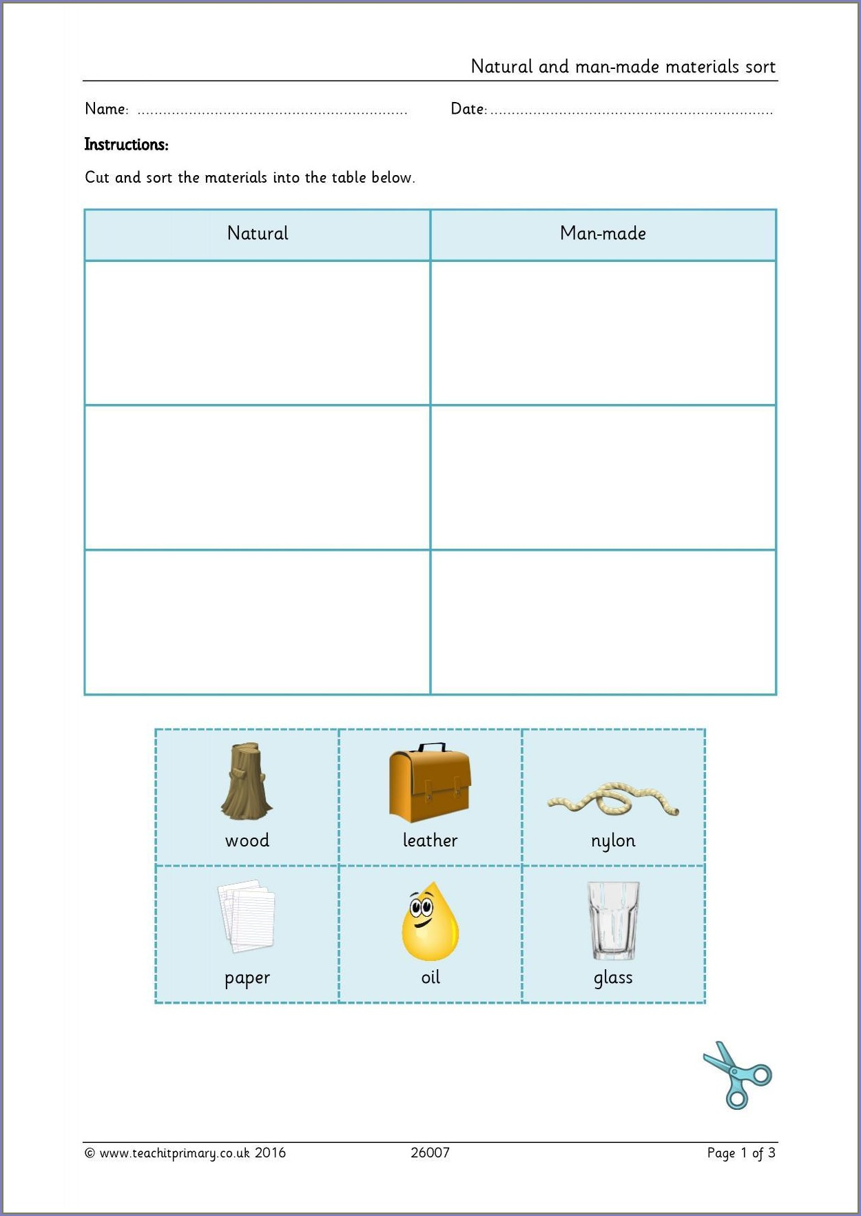 Science Worksheet About Materials