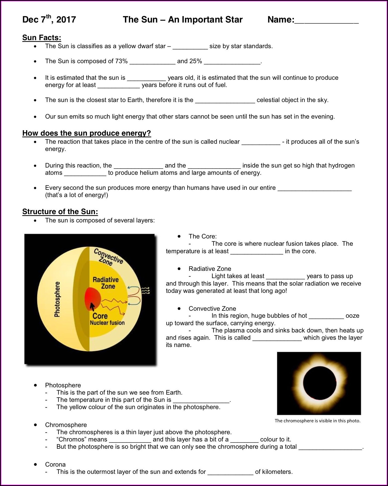 Science Worksheet The Sun