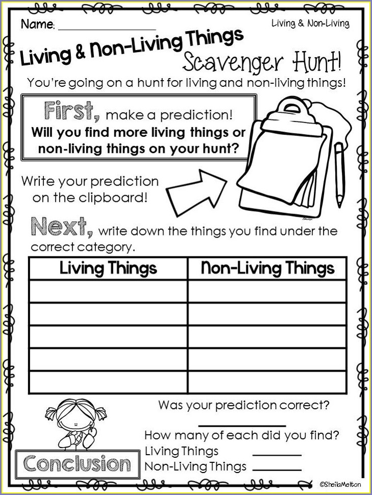 Science Worksheets Living Things And Non Living Things Worksheet For Grade 1 Pdf