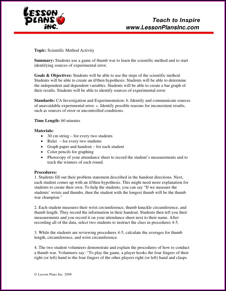 Scientific Method Identification Worksheet