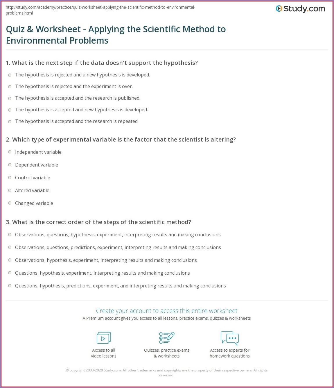 Scientific Method Problems Worksheet