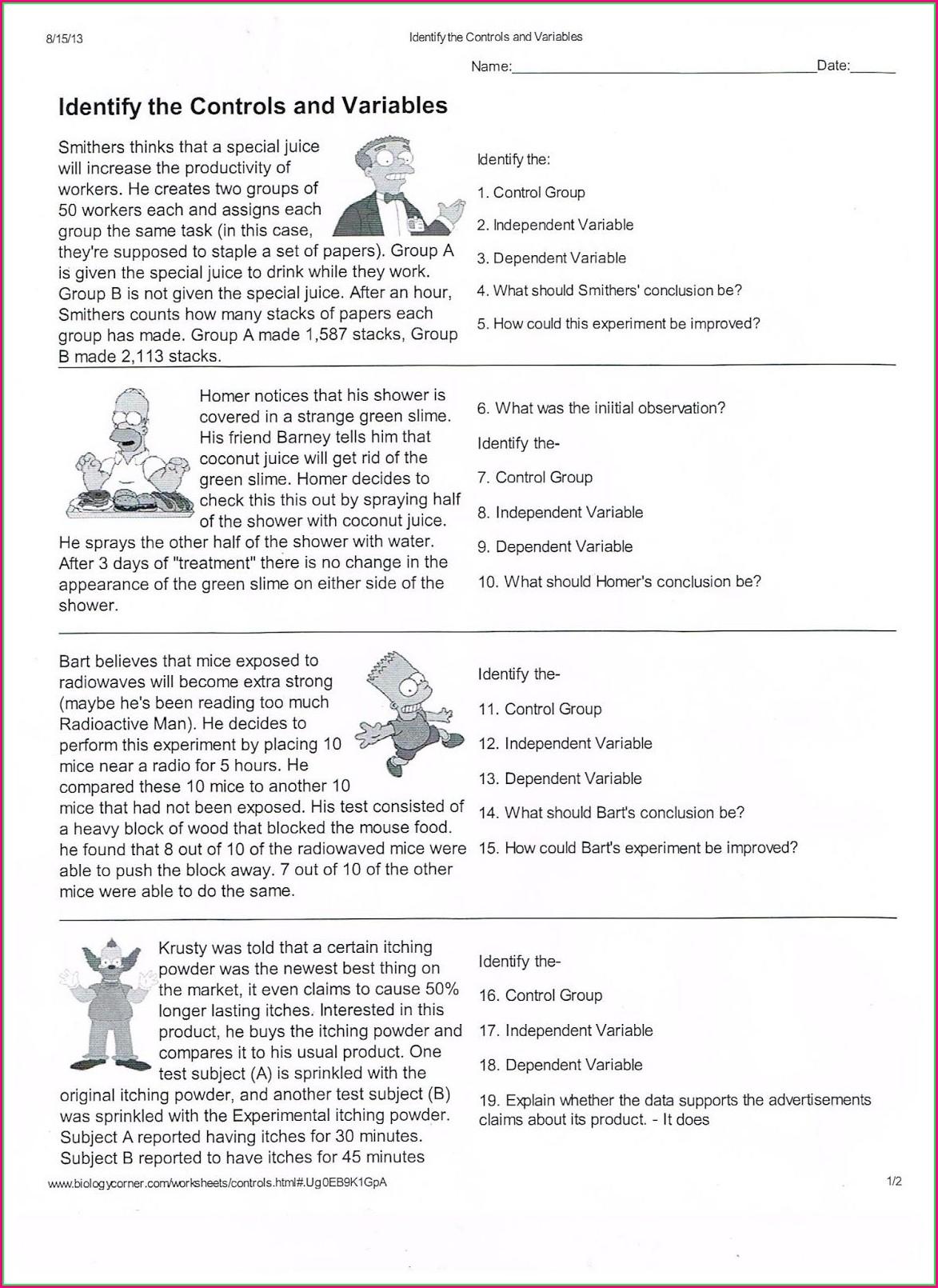 Scientific Method Reading Worksheet