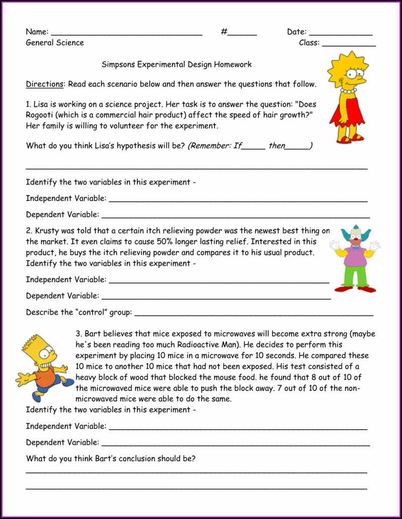 Scientific Method Simpsons Variables Worksheet Answer Key