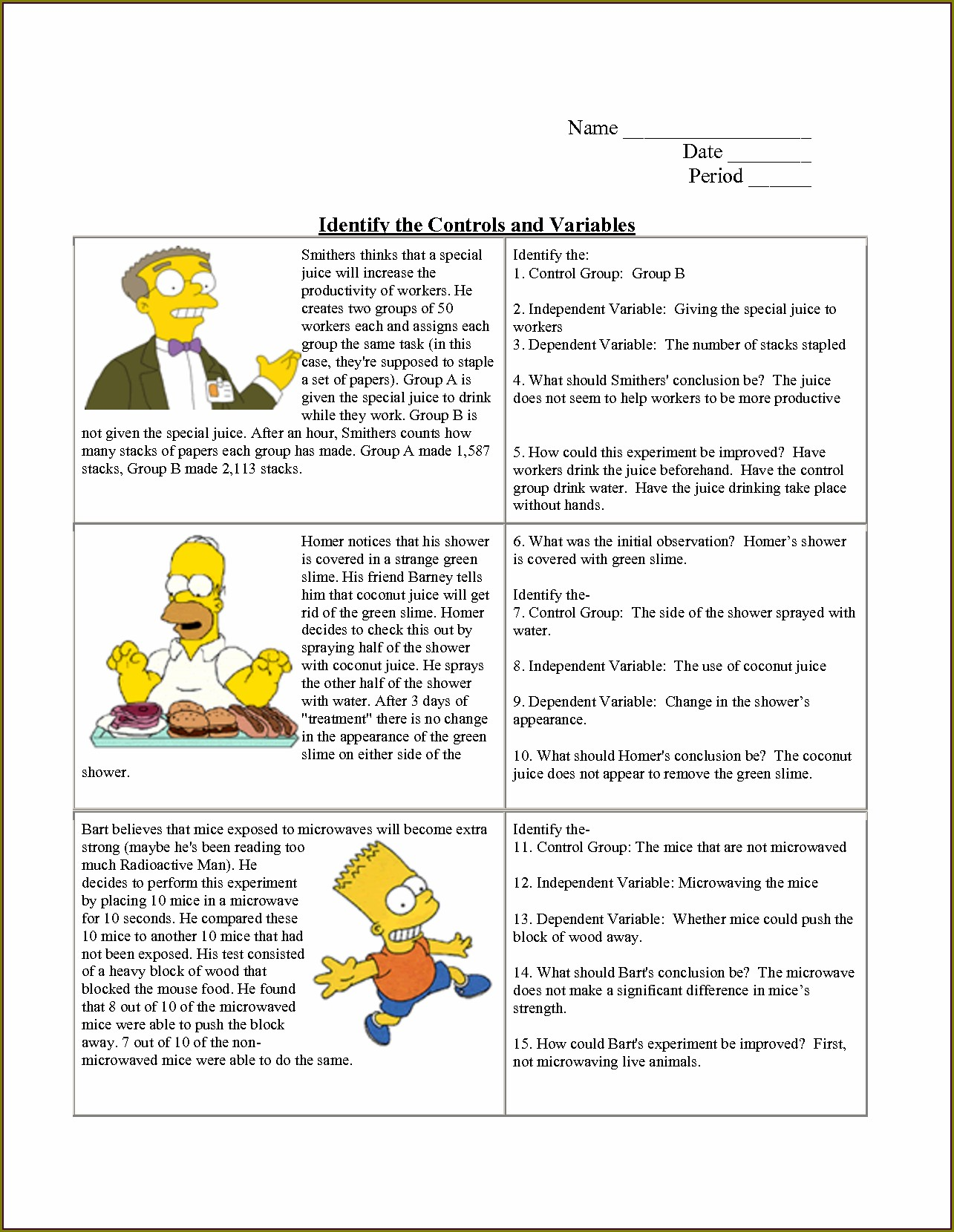 Scientific Method Variables Worksheet 5th Grade