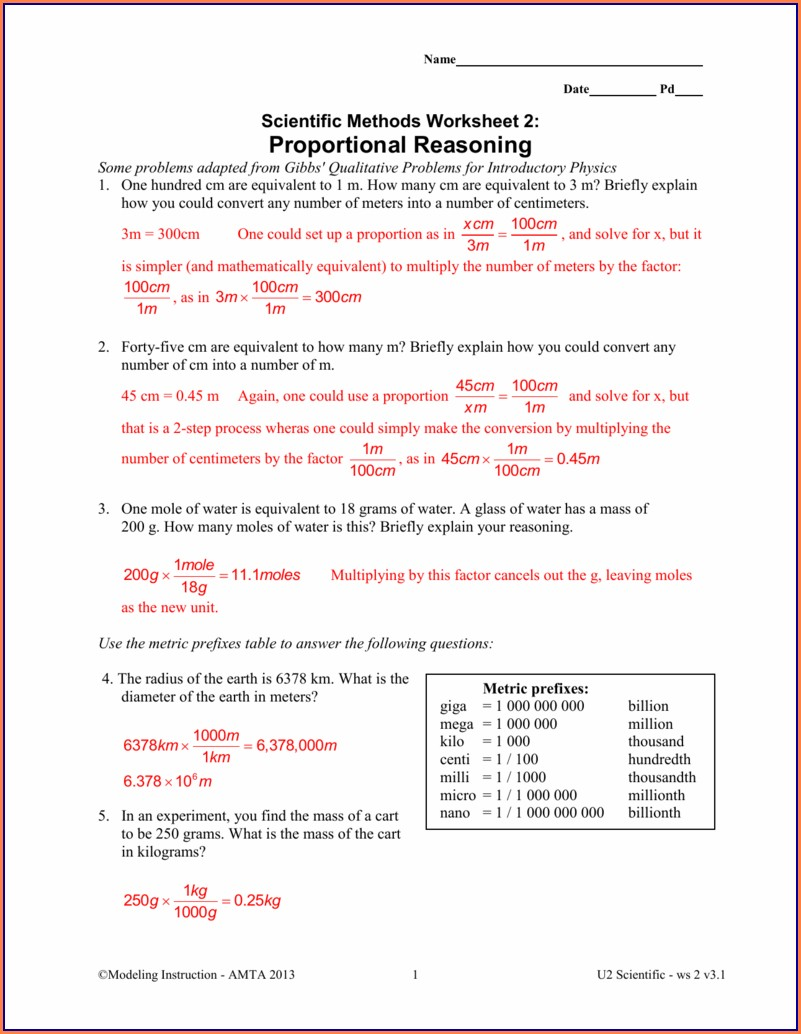 Scientific Method Worksheet Answers Key