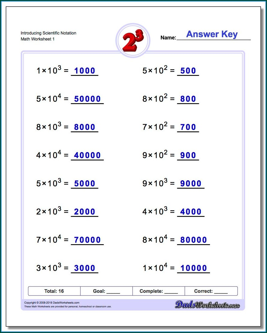 Scientific Notation Multiplication And Division Matching Worksheet Answer Key