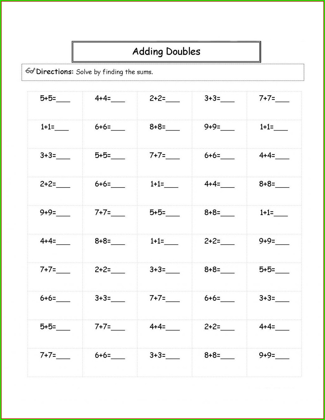 Second Grade Adding Doubles Worksheet
