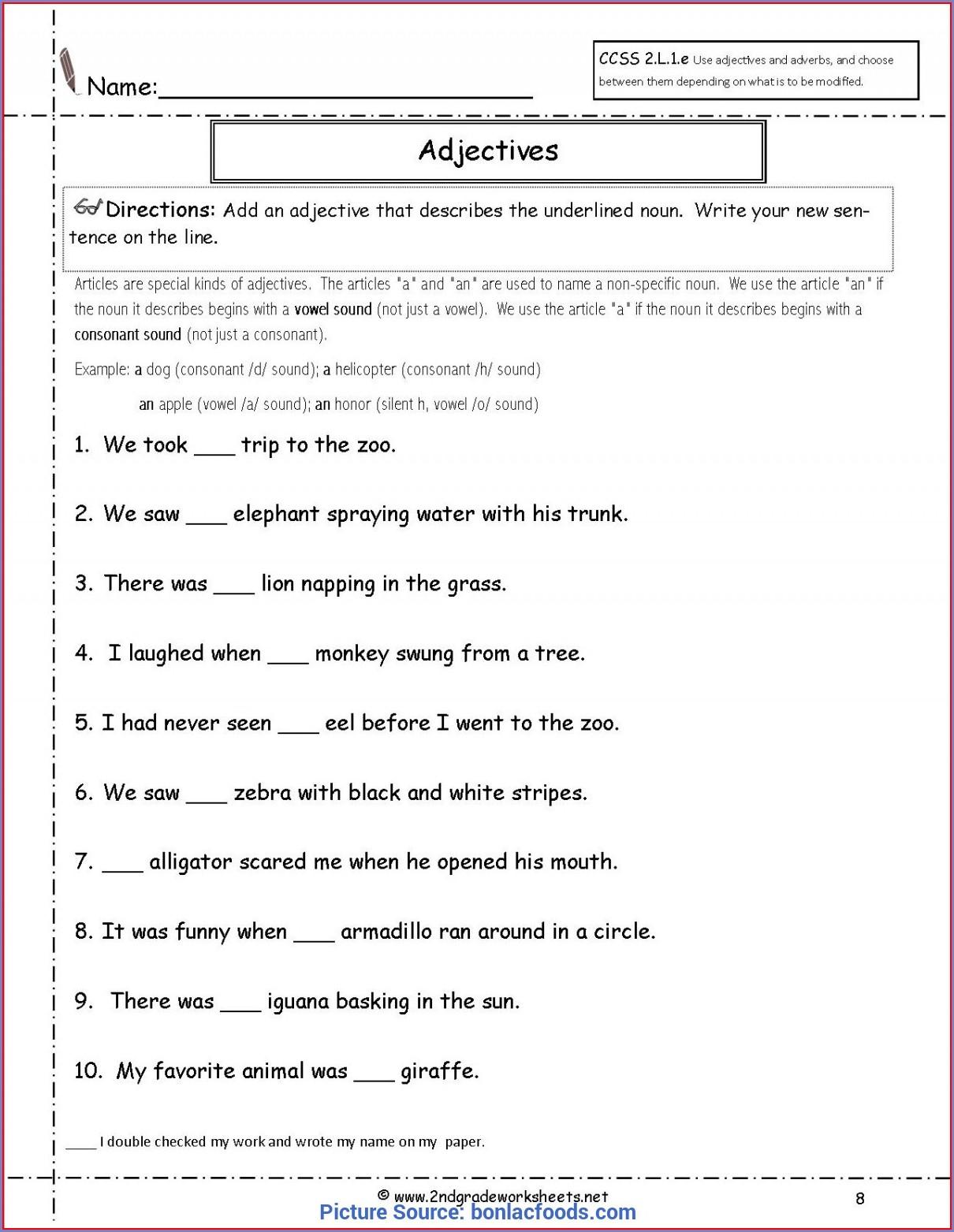 Second Grade Adjective Worksheet For Grade 2
