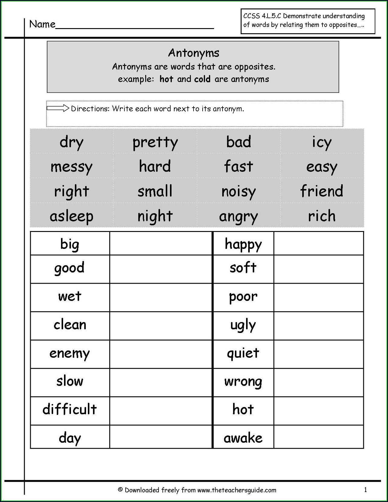 Second Grade Antonyms Worksheet For Grade 2