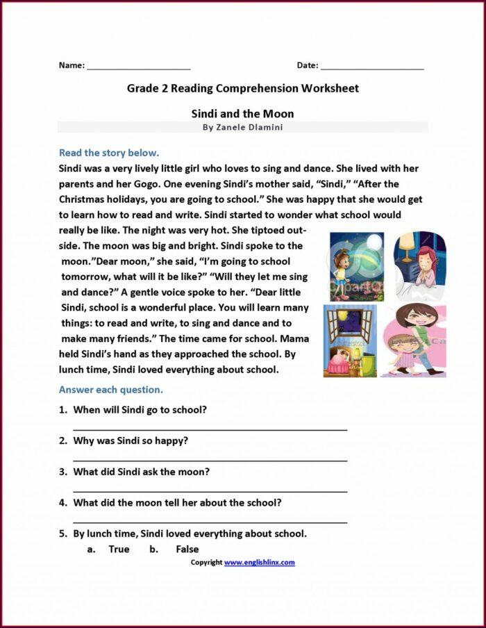 Second Grade Comprehension Worksheet For Grade 2