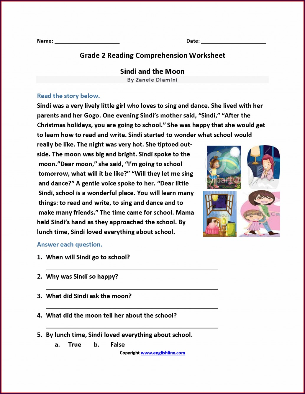 Second Grade Comprehension Worksheet For Grade 2