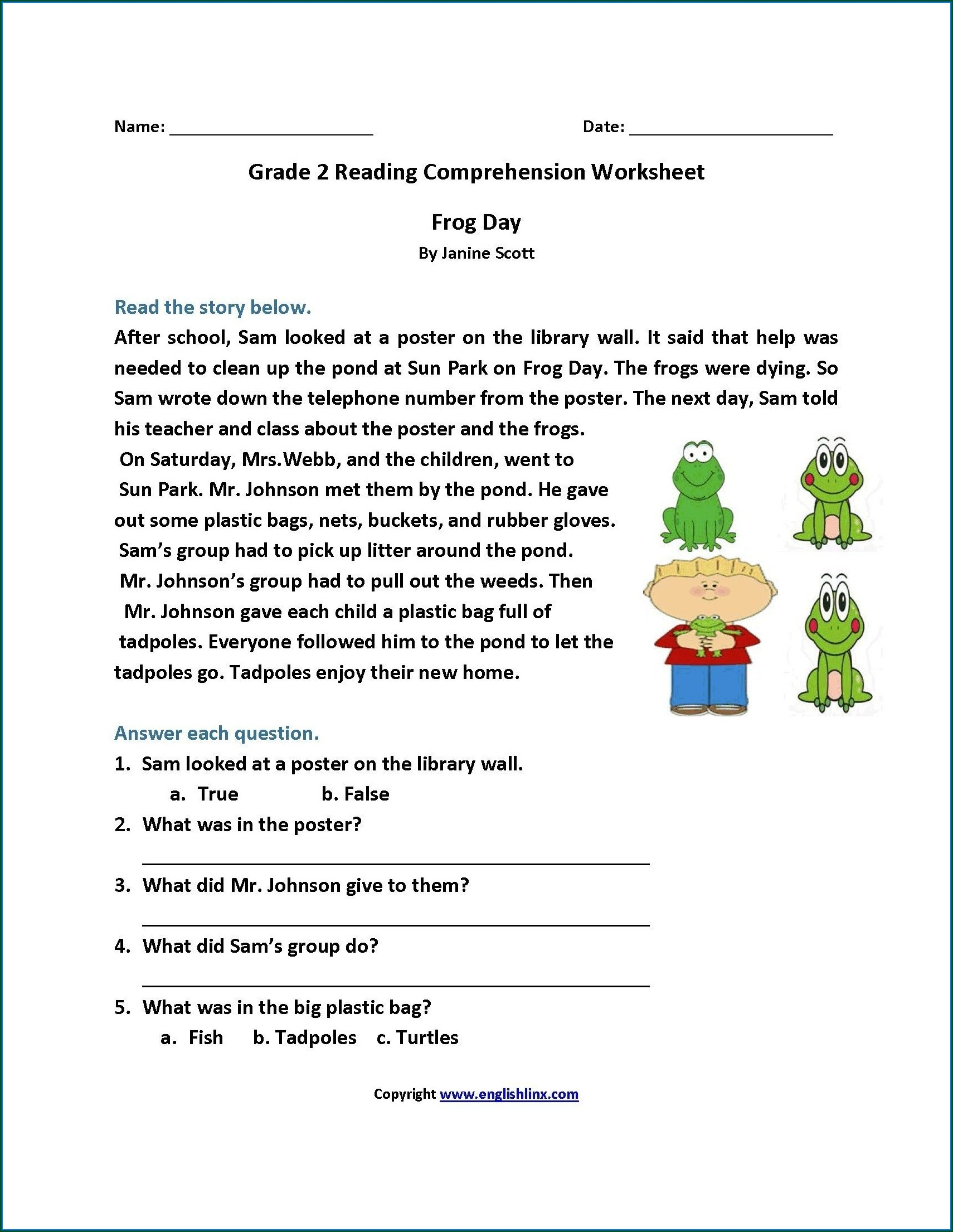 Second Grade Grade 2 Reading Comprehension Worksheets