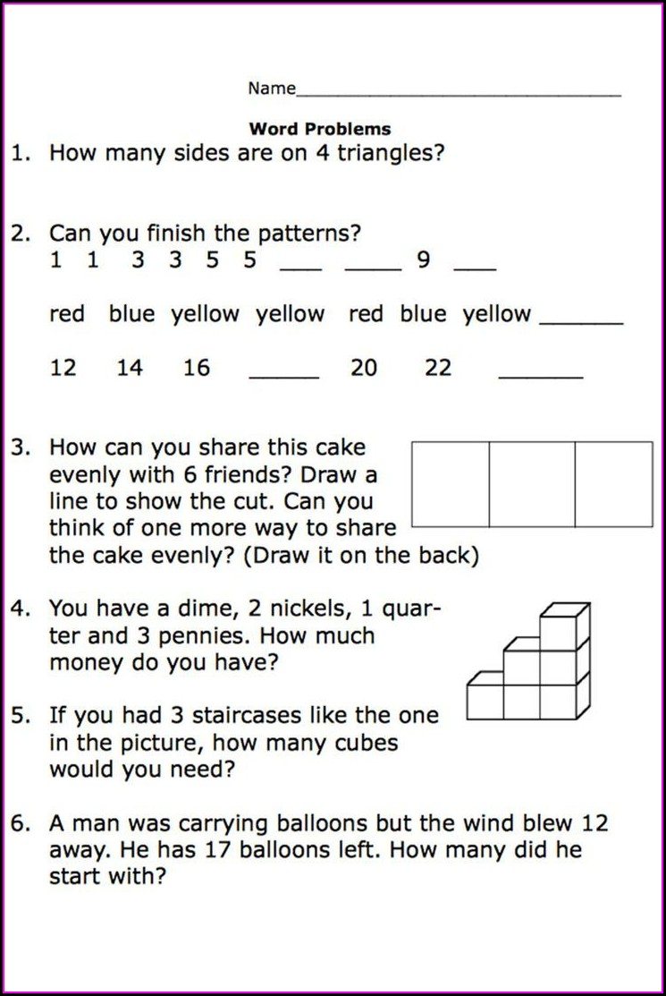 Second Grade Math Word Problems Worksheets