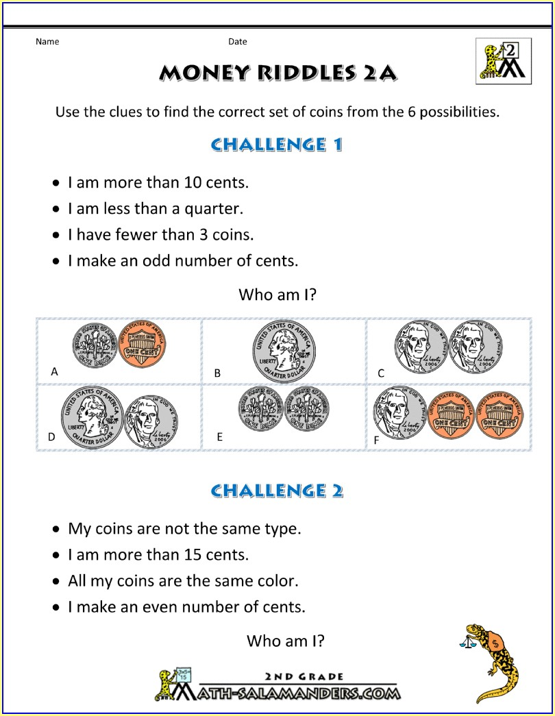 Second Grade Math Worksheets Money And Time