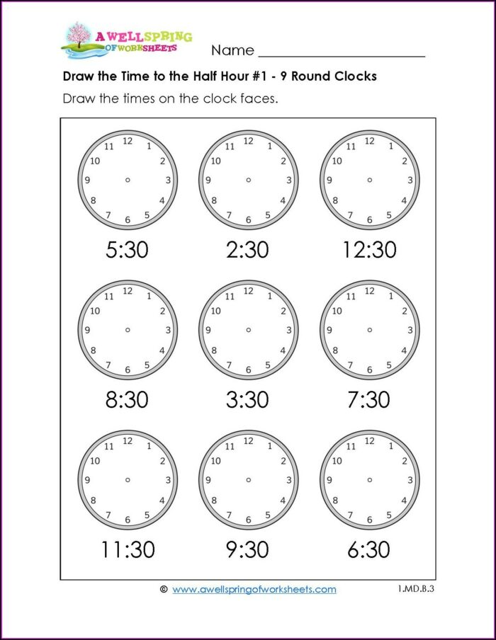 Second Grade Math Worksheets Time