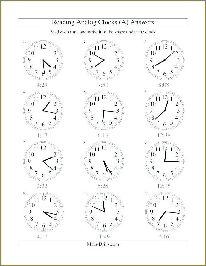 Second Grade Practice Telling Time Worksheets