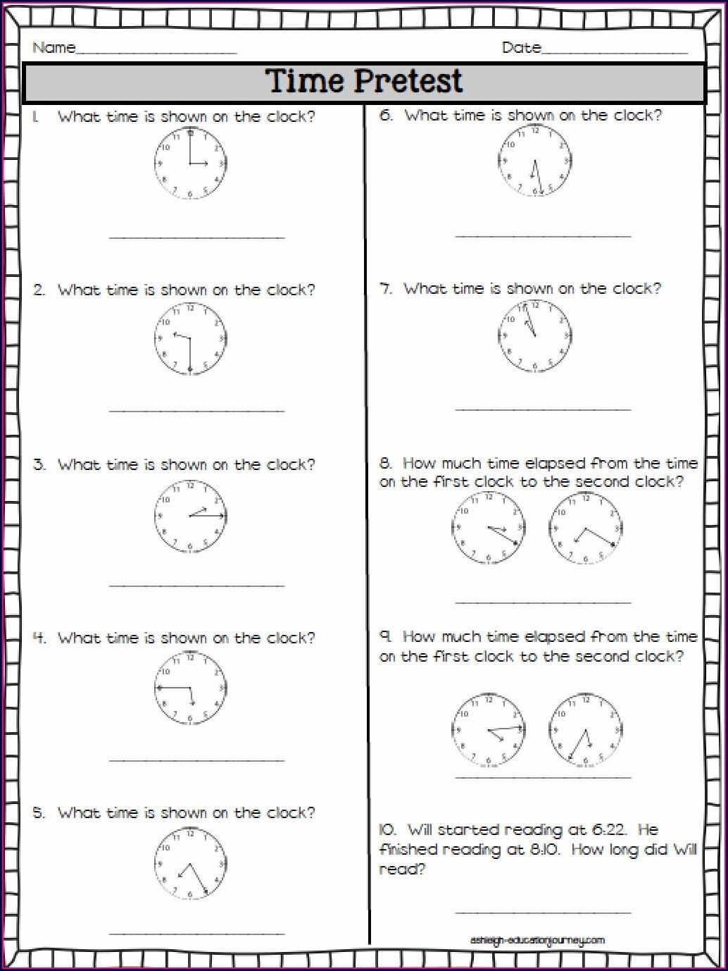 Second Grade Printable Clock Worksheet