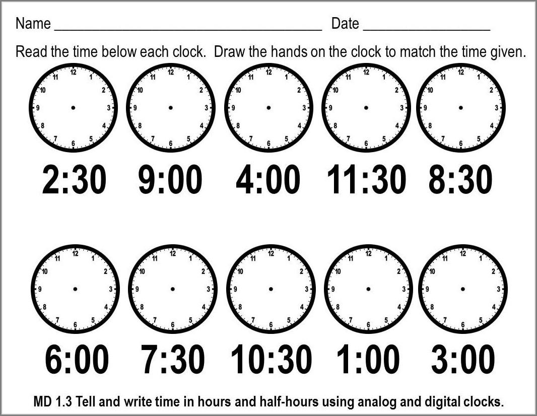 Second Grade Printable Telling Time Worksheets