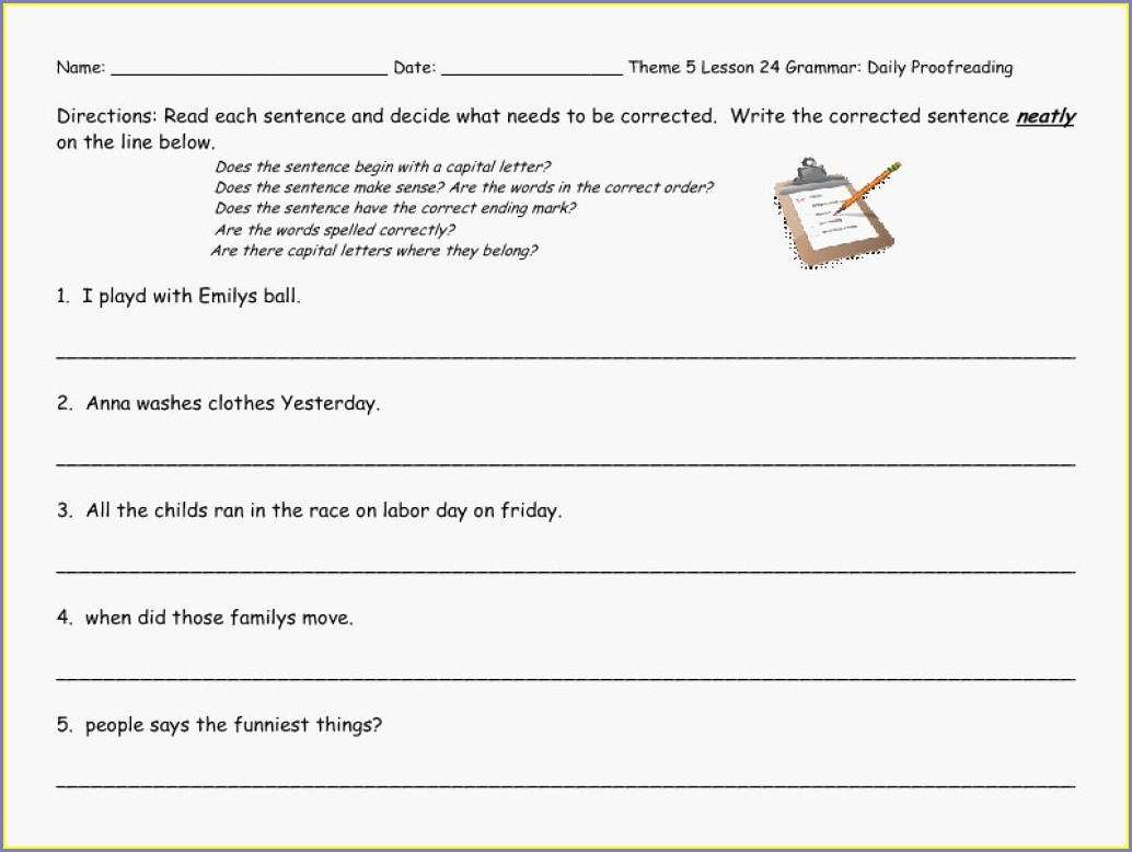 Second Grade Sentence Editing Worksheets