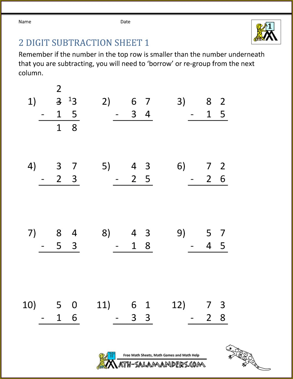 Second Grade Subtraction Worksheet For Grade 2