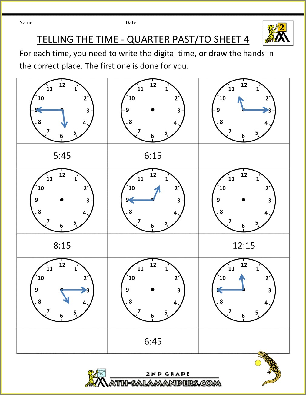 Second Grade Time Worksheets For 2nd Grade