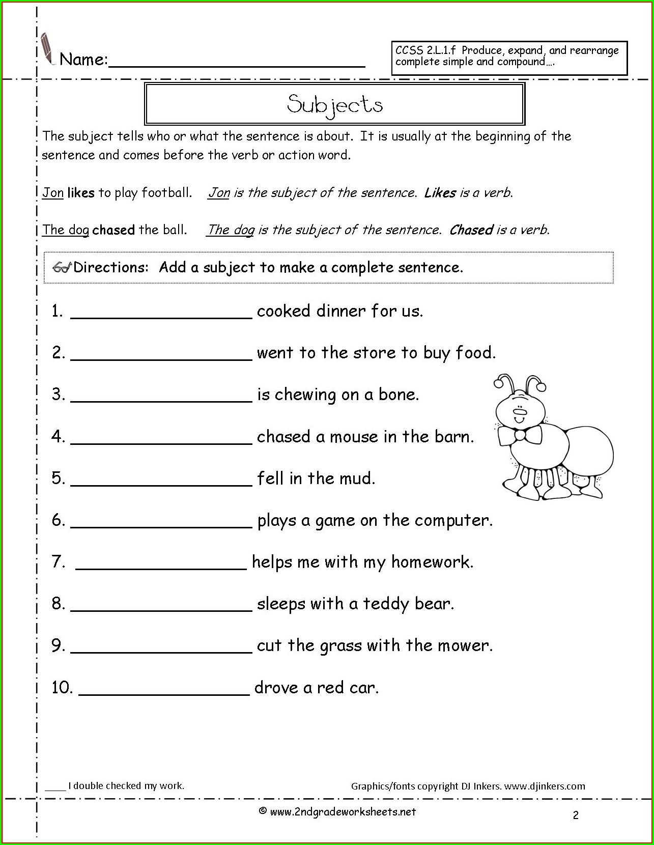 Second Grade Topic Sentence Worksheet 2nd Grade