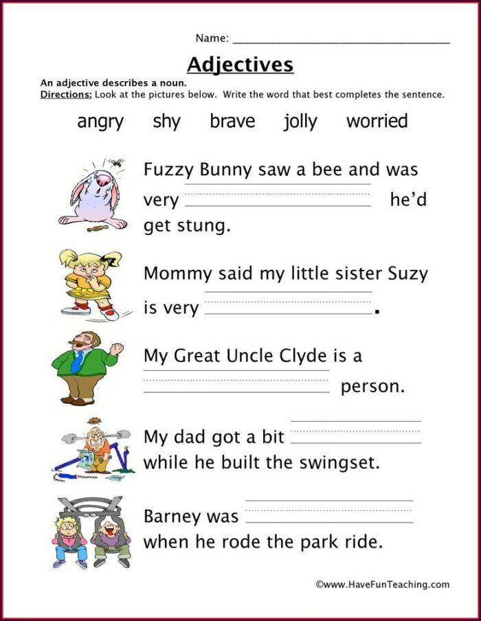Sentence Describing Words Worksheet For Kindergarten
