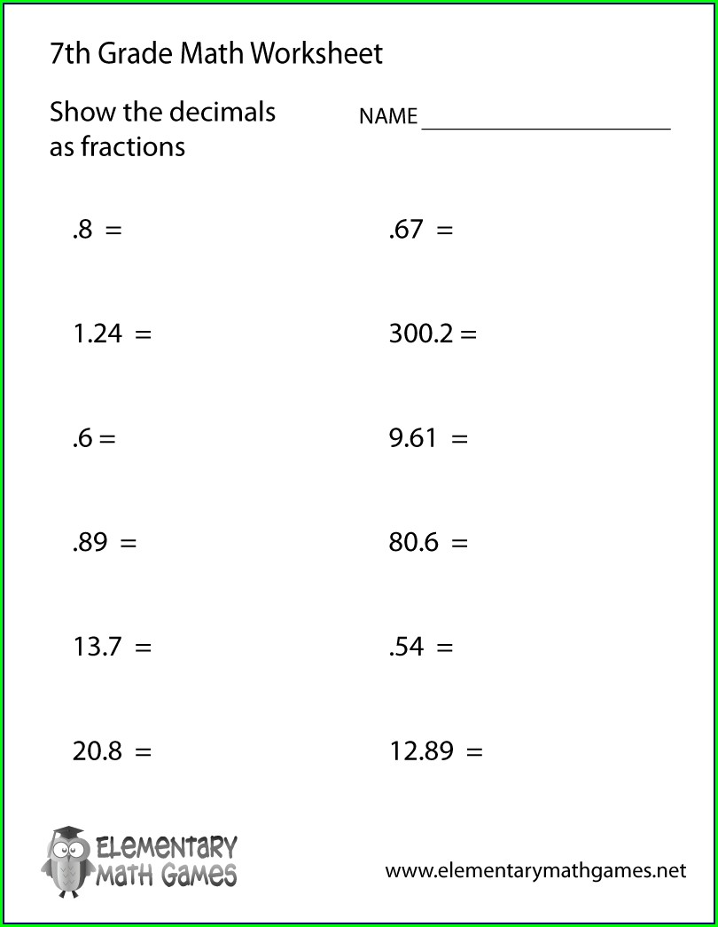 Seventh Grade Free 7th Grade Math Worksheets