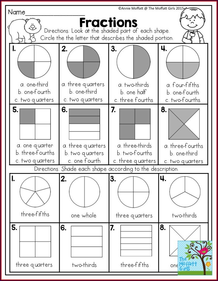 Shading Fractions Of Shapes Worksheet