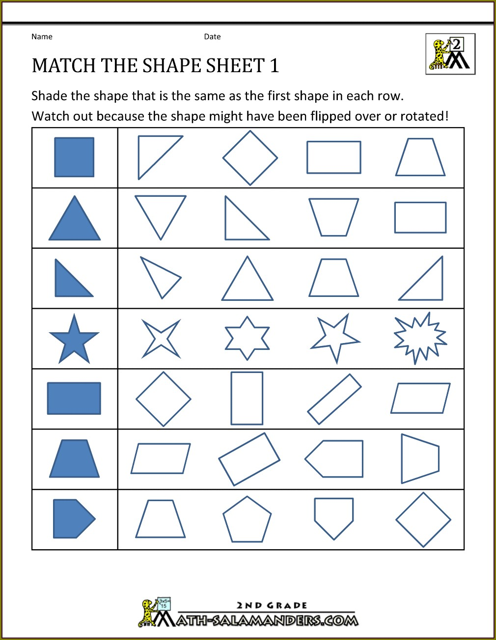 Shape Identification 2nd Grade Geometry Worksheets Pdf