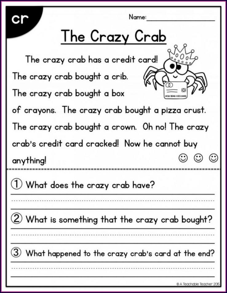 Short Reading Comprehension Passages For Kindergarten