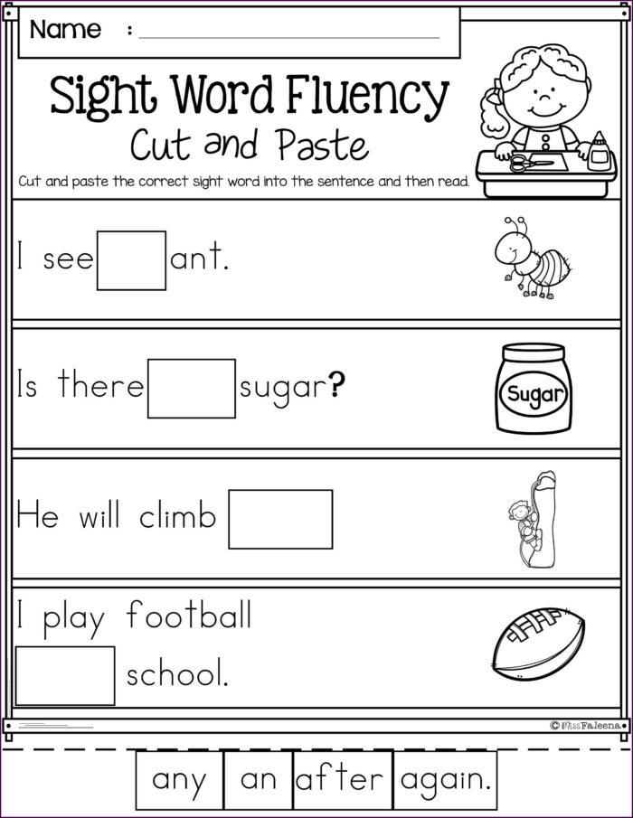 Sight Word First Grade Homeschool Worksheets