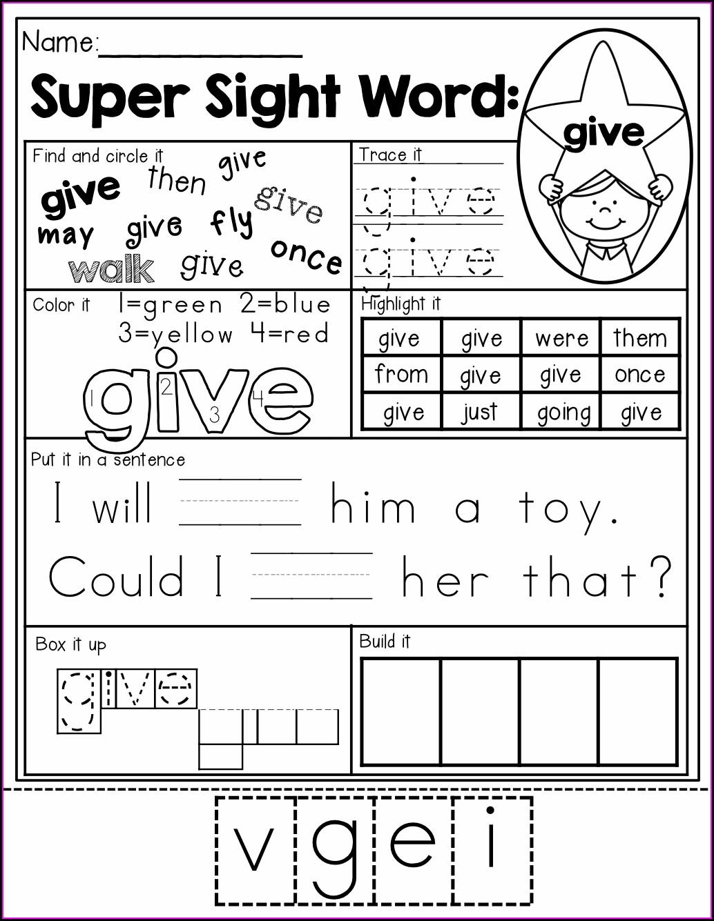 Sight Word Under Worksheet