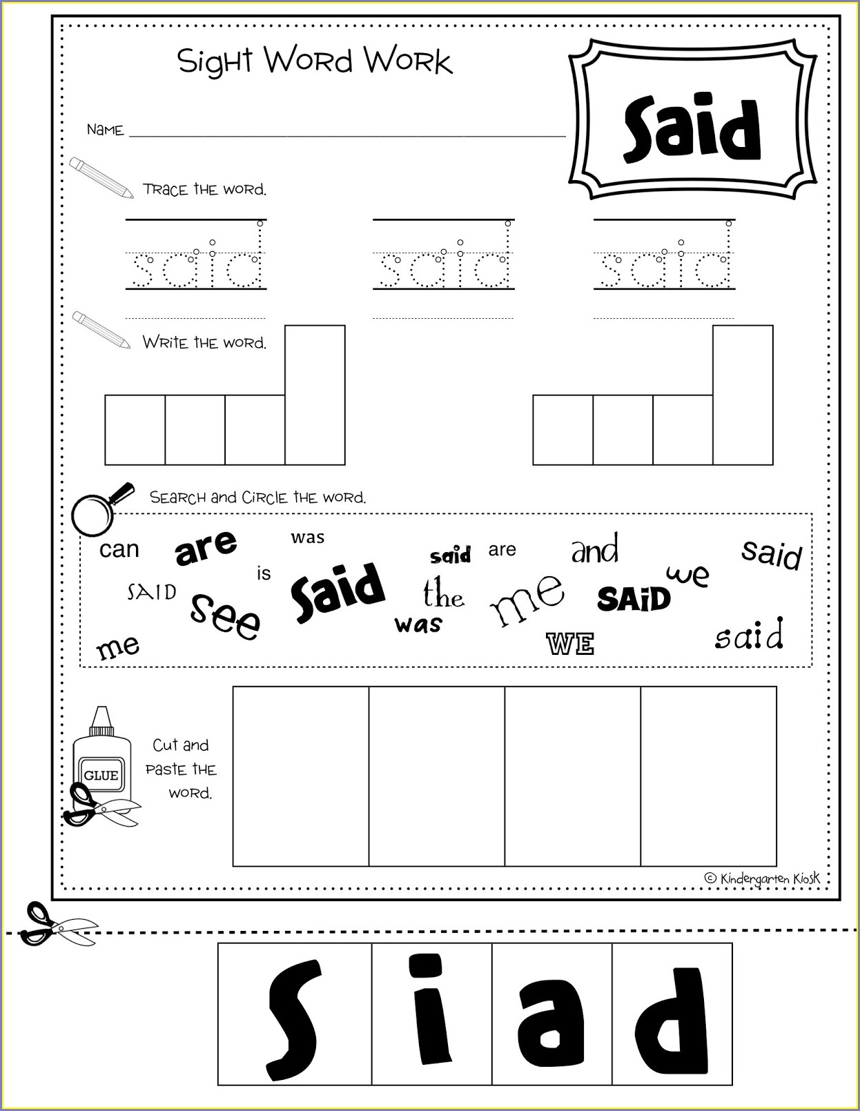 Sight Word Worksheet And