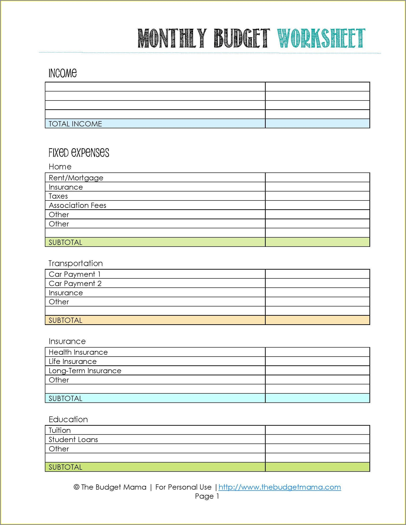 Simple Beginner Budget Worksheet Printable