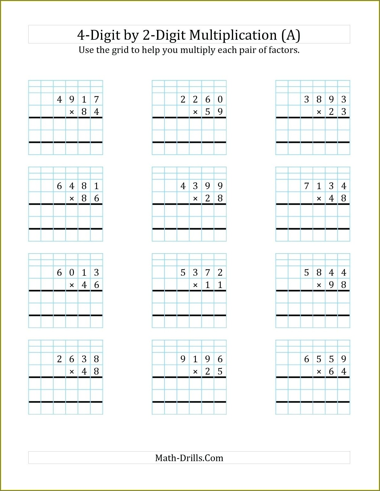 Simple Multiplication Worksheet For Kindergarten