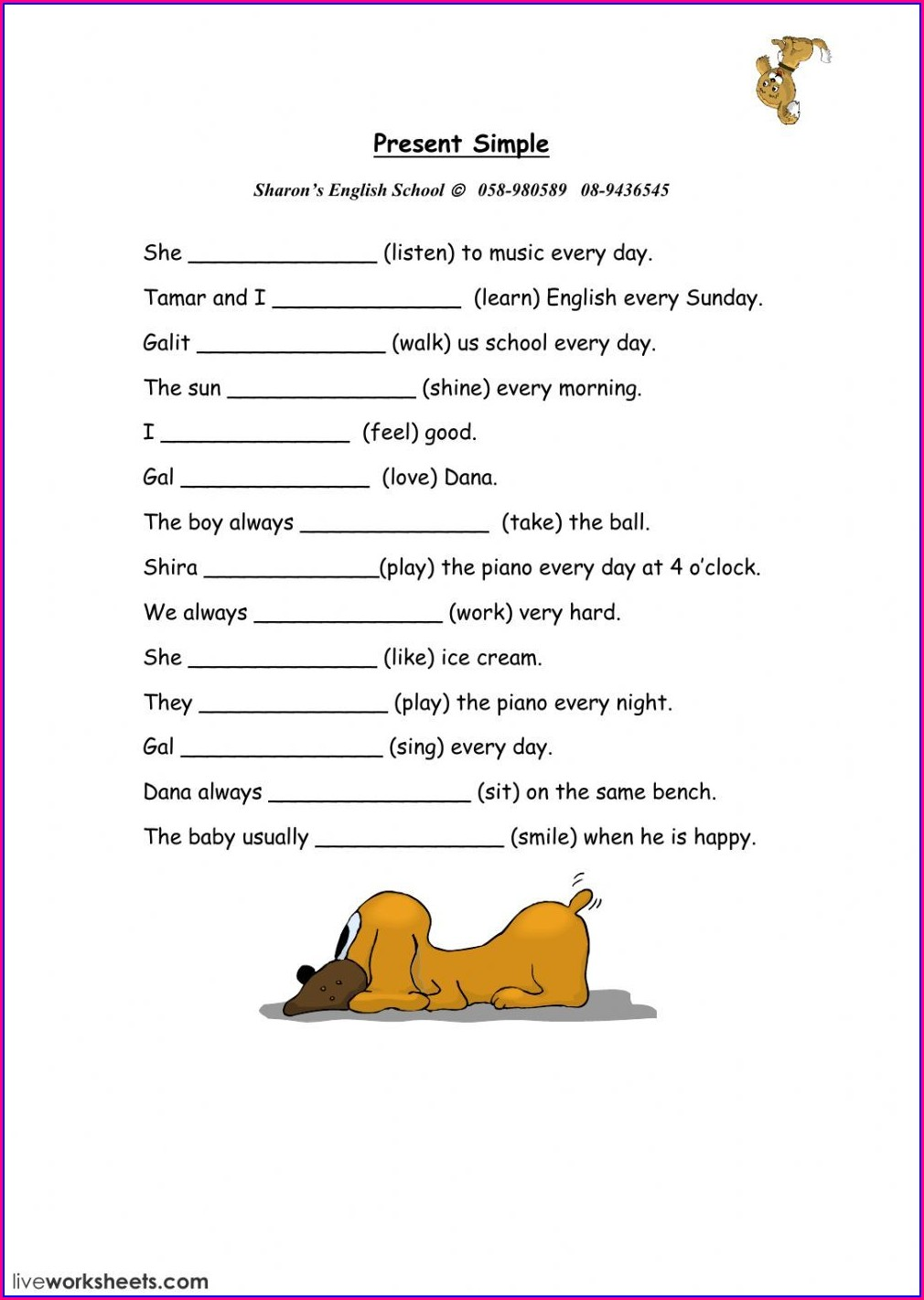 Simple Present Tense Worksheet Pdf