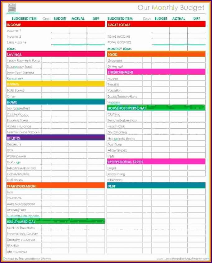 Simple Printable Household Budget Worksheet