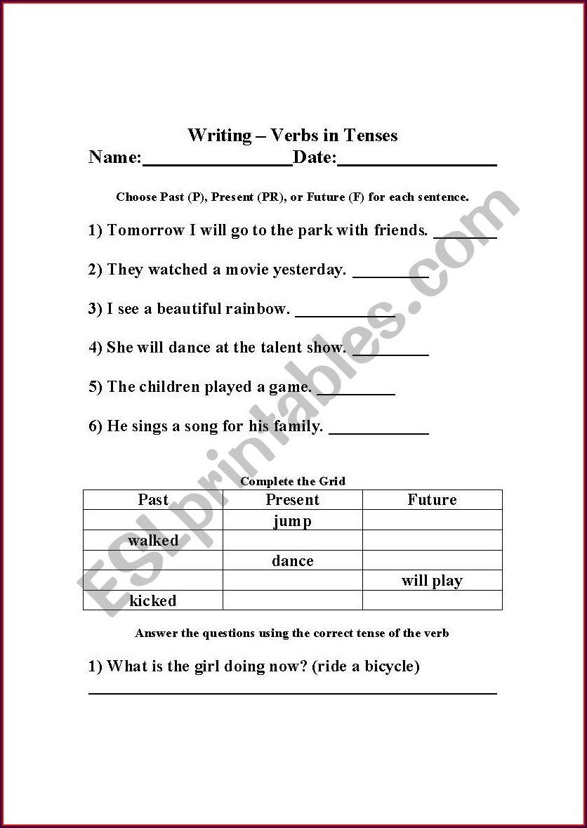 Simple Verb Tenses Worksheet