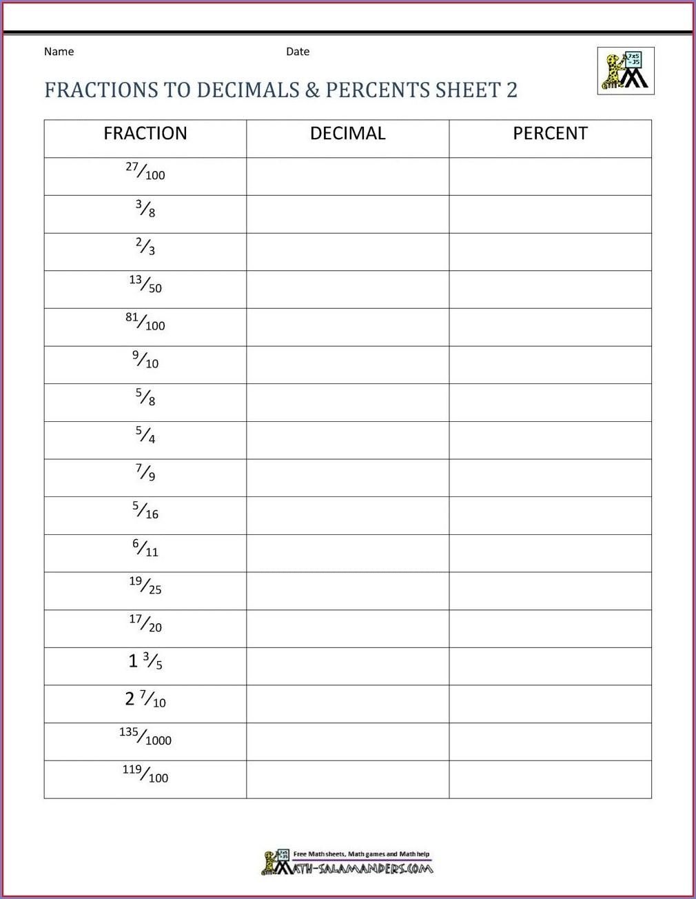 Simplifying Fractions Worksheet Grade 3