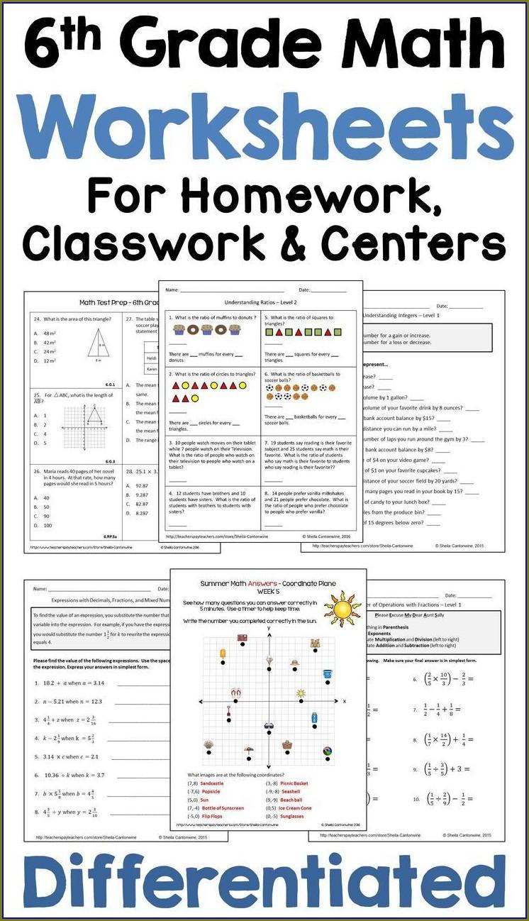 Sixth Grade Math Test Printable