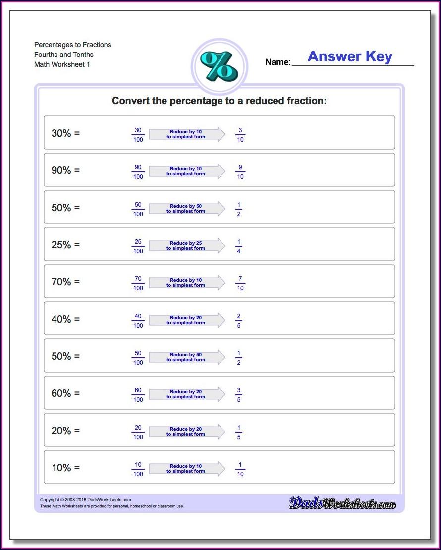 Sixth Grade Math Worksheet Percentages