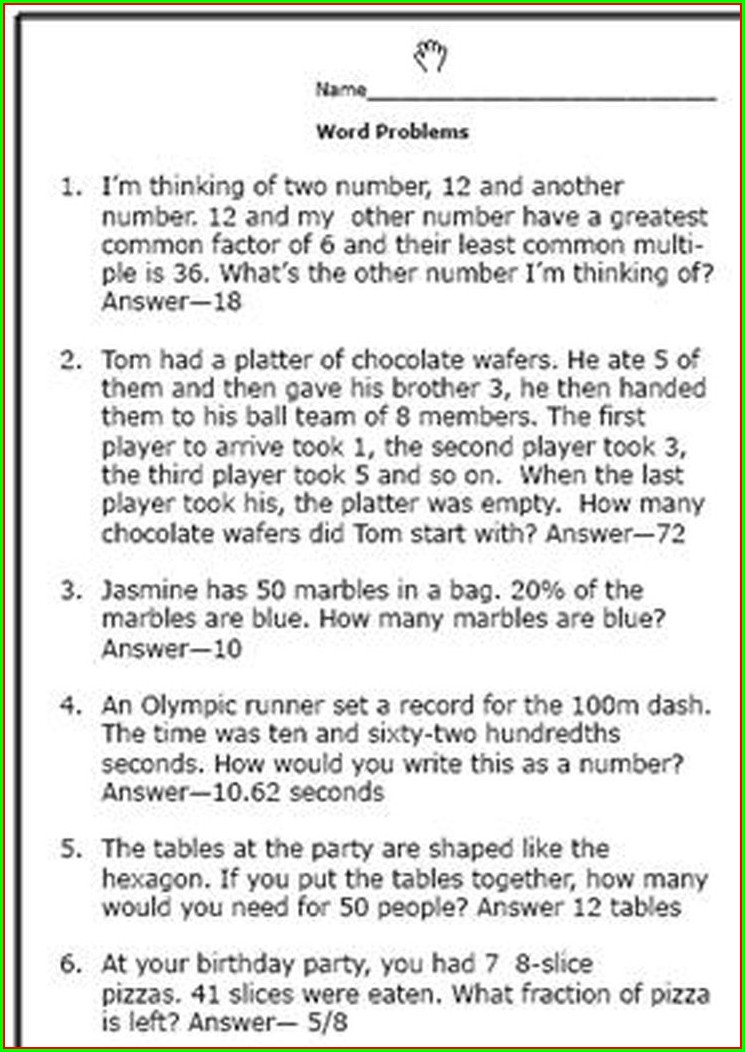 Sixth Grade Word Problems 6th Grade Math Worksheets With Answers