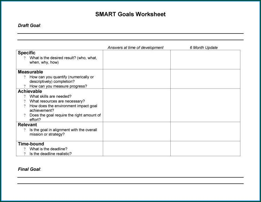 Smart Goals And Objectives Worksheet