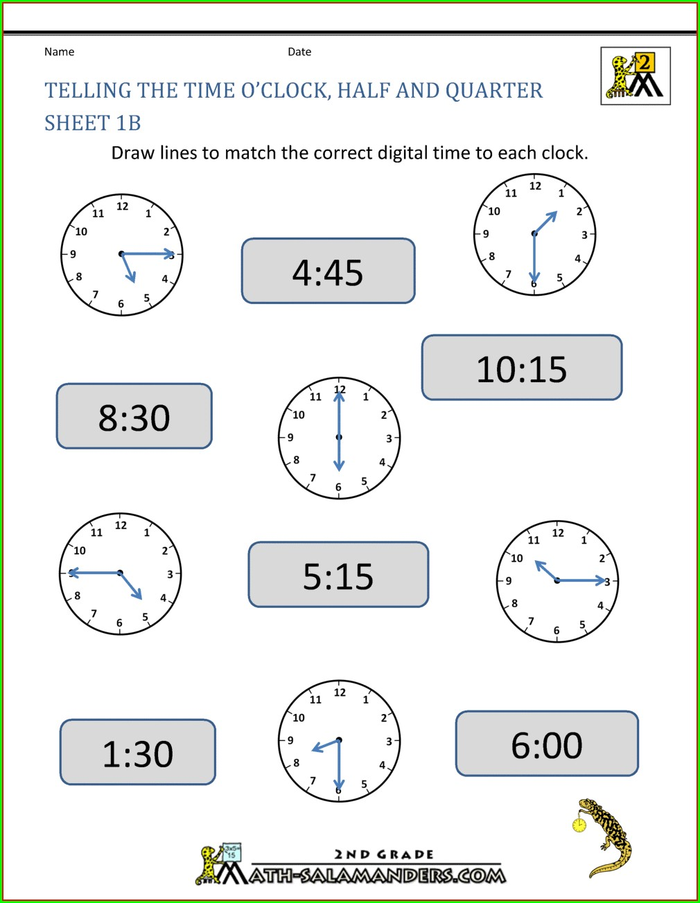Snappy Maths Digital Time Worksheets