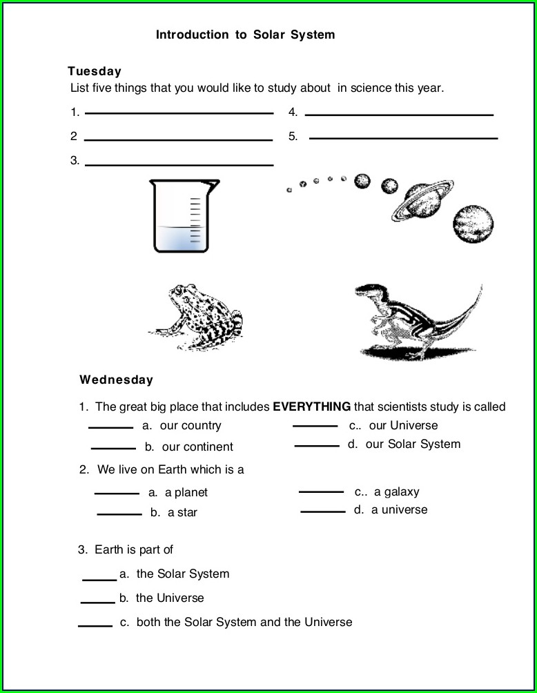 Solar System Science Worksheet For Class 3