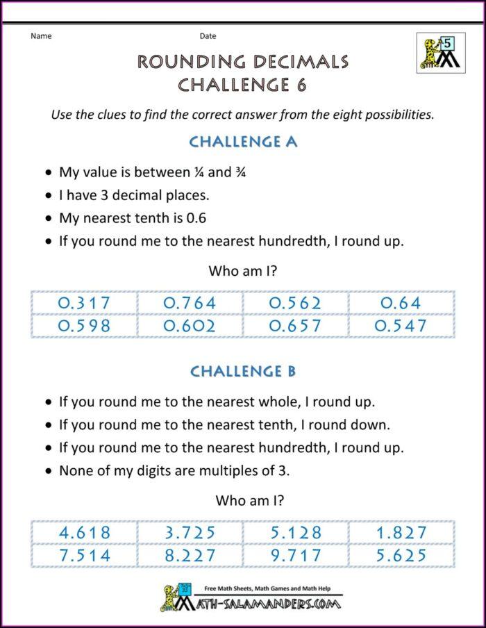 Solving Decimal Word Problems Worksheet