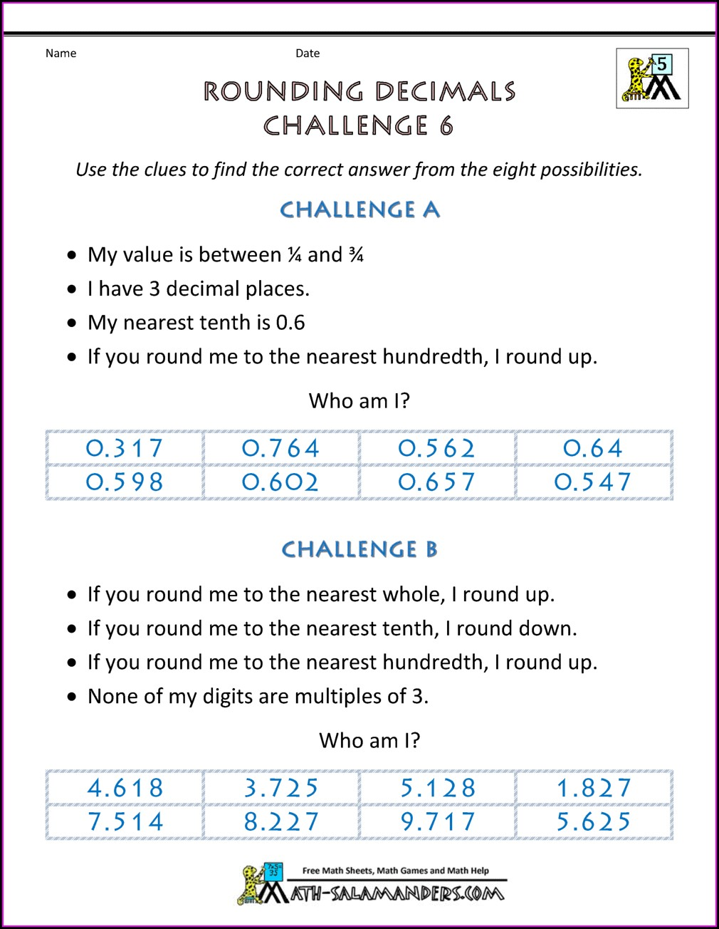Solving Decimal Word Problems Worksheet