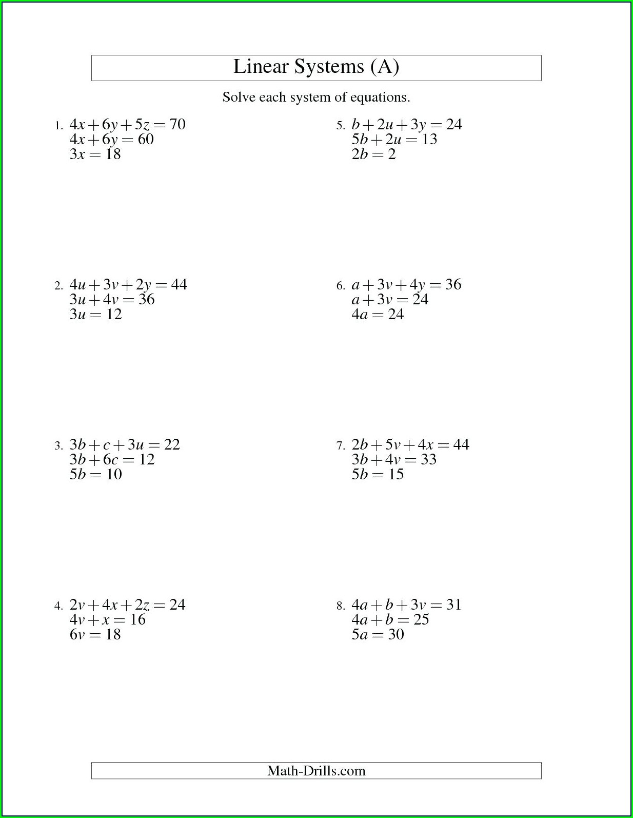 Solving Equations Word Problems Worksheet With Answers