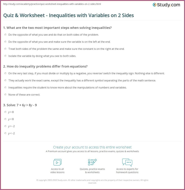Solving Inequalities Printable Worksheets